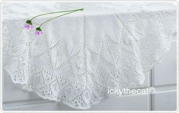 PDF Digital Download Vintage Knitting Pattern Baby Babies Shawl or Blanket 40'' Diameter ​​​​​​​DK