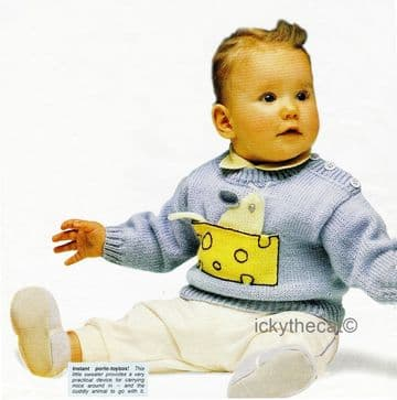 PDF Digital Download Vintage Knitting Pattern Baby Babies Sweater Jumper Pocket Mouse Toy