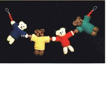 PDF Digital Download Vintage Knitting Pattern Baby Babies Teddy Bear Pram Toys & Mobile