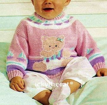 PDF Digital Download Vintage Knitting Pattern Baby Babies Teddy Bear Sweater Jumper ​​​​​​​68-80 cm
