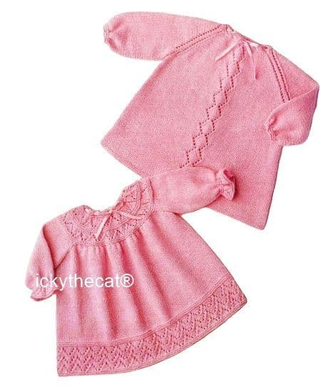 PDF Digital Download Vintage Knitting Pattern Baby Babies Two Dresses 22'' in 4 ply