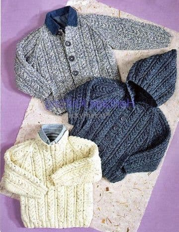 PDF Digital Download Vintage Knitting Pattern Baby Child Aran Cable Sweater Jacket 24-30''