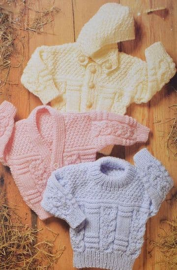 PDF Digital Download Vintage Knitting Pattern  Baby Child Aran Sweater Cardigan & Jacket Hood 18-32'