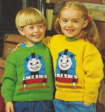 PDF Digital Download Vintage Knitting Pattern Baby Child Boy Girl Thomas The Tank Engine Sweaters