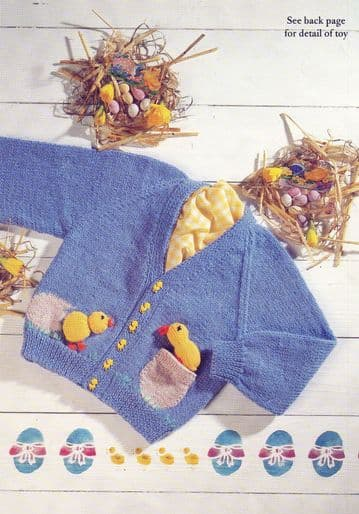 PDF Digital Download Vintage Knitting Pattern Baby Child Cardigan Jacket Chick Pocket Toy