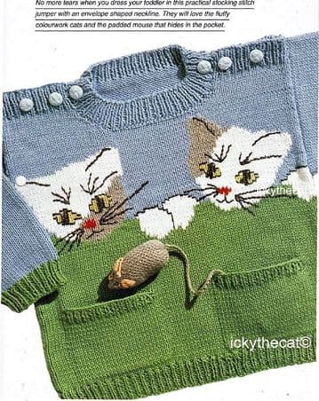 PDF Digital Download Vintage Knitting Pattern Baby Child Sweater Jumper Cat & Pocket Mouse Toy