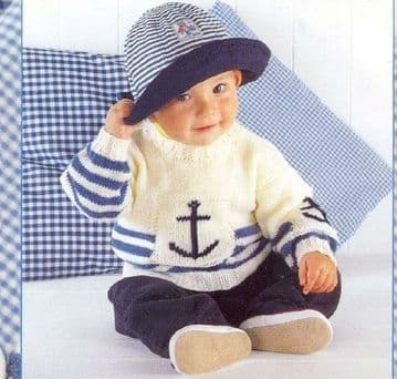 PDF Digital Download Vintage Knitting Pattern Baby Children's Sweater Jumper ​​​​​​​Nautical Anchor