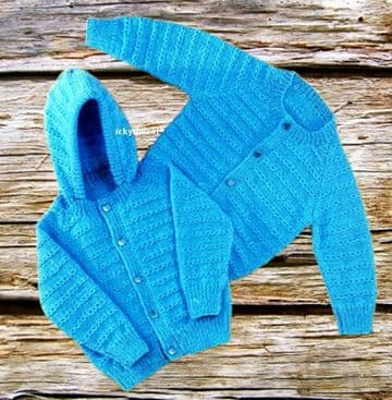 PDF Digital Download Vintage Knitting Pattern Baby  Childrens Jackets Round Neck & Hood 4 ply & DK