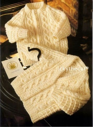 PDF Digital Download Vintage Knitting Pattern Baby Childs  Aran Cable Cardigans Jackets 45-60 cm