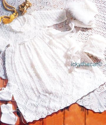PDF Digital Download Vintage Knitting Pattern Baby Christening Robe  Bonnet Bootees Shawl 48 x 48''