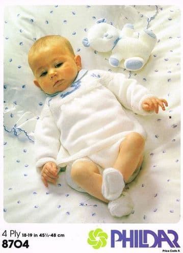 PDF Digital Download Vintage Knitting Pattern Baby Clothes Angel Top Pants Bootees 18,19''