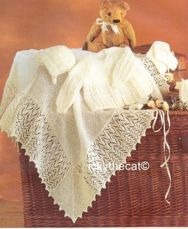 PDF Digital Download Vintage Knitting Pattern Baby Coat Bonnet Bootees Mittens & Shawl 14 - 18''