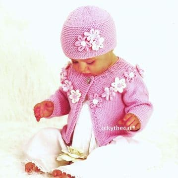 PDF Digital Download Vintage Knitting Pattern Baby Flower Cardigan/Jacket/Coat Hat & 2 Alice Bands