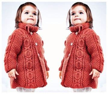 PDF Digital Download Vintage Knitting Pattern  Baby/Girl's Aran Style Cable Cardigan/Coat  DK 20-26""