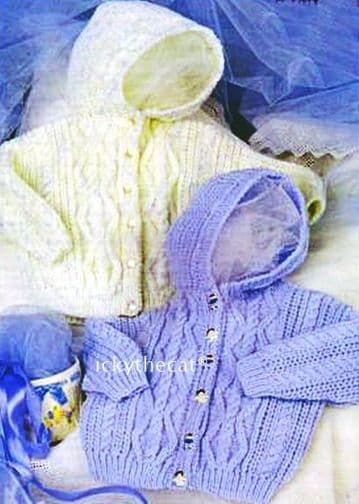 PDF Digital Download Vintage Knitting Pattern Baby Hooded Cable Cardigans Jackets DK 18 - 24''