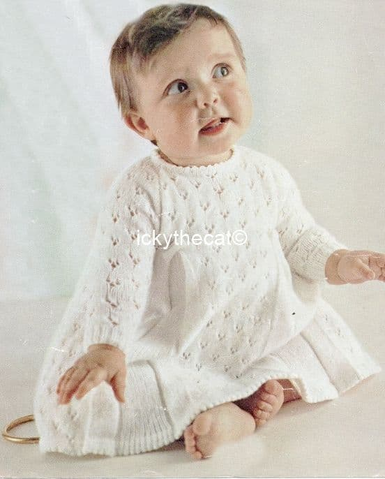 PDF Digital Download Vintage Knitting Pattern Baby Long & Short Dress Christening 19-21''