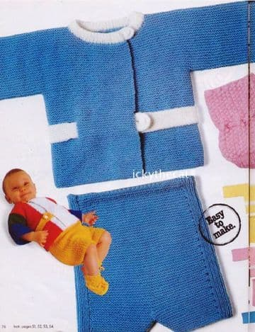 PDF Digital Download Vintage Knitting Pattern Baby Sweater Top and Pants/Shorts 1 - 6 months