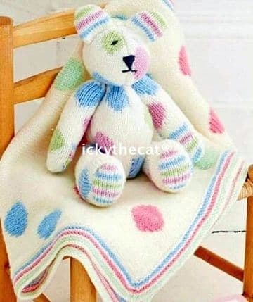 PDF Digital Download Vintage Knitting Pattern Baby Toy  13'' Spot Spotty Teddy Bear 33 cm  Blanket