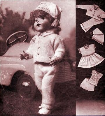 PDF Digital Download Vintage Knitting Pattern Baby Toy Dolls Clothes  20-21'' Toys