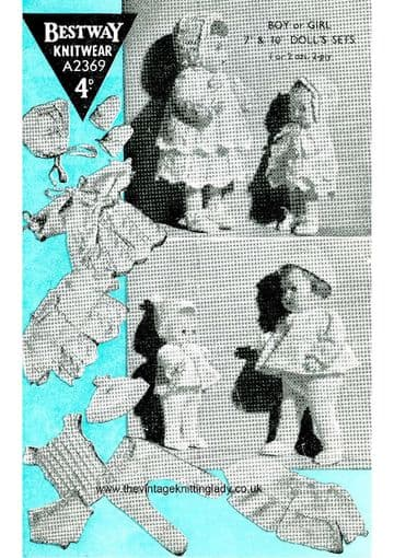 "PDF Digital Download Vintage Knitting Pattern Bestway 2369 Dolls Clothes 7 & 10"" Baby Doll Toy"