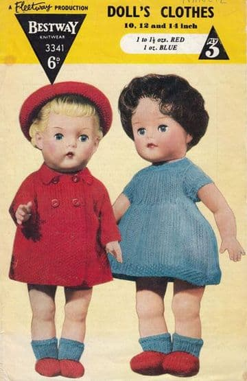 PDF Digital Download Vintage Knitting Pattern Bestway 3341 Dolls Clothes 10/12/14 inch BabyDolls Toy