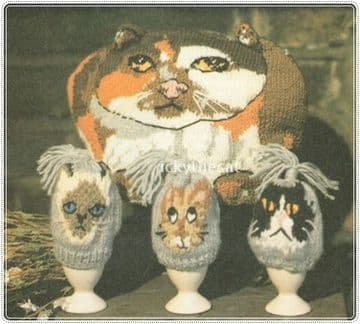 PDF Digital Download Vintage Knitting Pattern Cat Tea Cosy Cosy Average Size & Kitten Egg Cosy