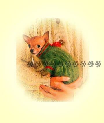 PDF Digital Download Vintage Knitting Pattern Chihuahua Yorkshire Terrier Dog Coat 3 Sizes
