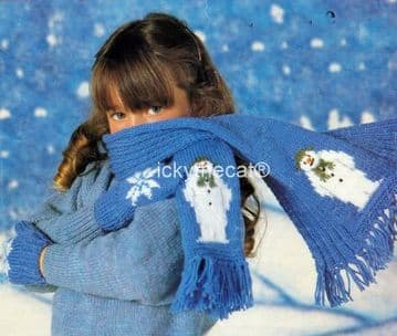 PDF Digital Download Vintage Knitting Pattern Child Boy Girl Snowman Set Scarf Mittens 3 Sizes