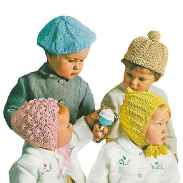 PDF Digital Download Vintage Knitting Pattern Children's Hats,Bonnets,Beret 1-3 years