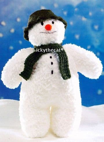 PDF Digital Download Vintage Knitting Pattern Christmas Snowman 16'' Doll Stuffed Plush Soft Toy