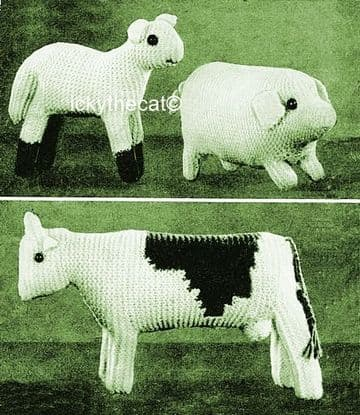 PDF Digital Download Vintage Knitting Pattern Cow, Lamb and Pig Stuffed plush Soft Toy Animals