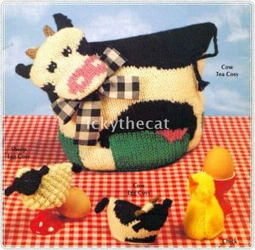 PDF Digital Download Vintage Knitting Pattern Cow Tea Cosy & Cow/Chick/Sheep Egg Cozy Cosies