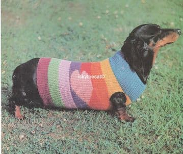 PDF Digital Download Vintage Knitting Pattern Dachshund Sausage Dog Coat