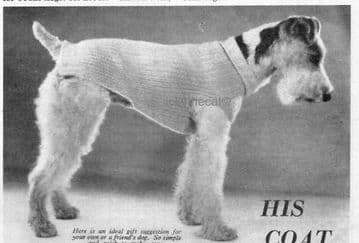 PDF Digital Download Vintage Knitting Pattern Dog Coat DK