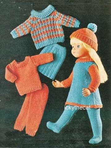 PDF Digital Download Vintage Knitting Pattern Doll Clothes 16,18,20'' Dolls Tunic, Sweaters,Trousers