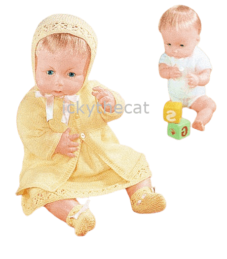 PDF Digital Download Vintage Knitting Pattern Doll Clothes 3 ply 14/16'' 18/20''Baby Dolls Toy Toys