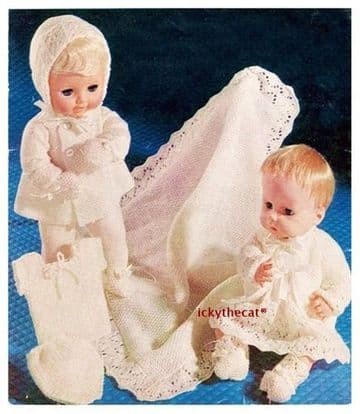 PDF Digital Download Vintage Knitting Pattern Doll Clothes 3 ply 14-16'' Baby Dolls Toy Toys