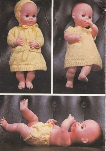 PDF Digital Download Vintage Knitting Pattern Doll Clothes 4 ply 14''  Baby Dolls Toy Toys