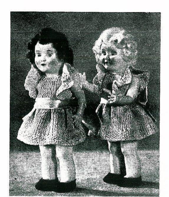 PDF Digital Download Vintage Knitting Pattern to make Doll's Clothes A Frilly Dress for a 6 1/2'' Doll like a Rosebud Doll