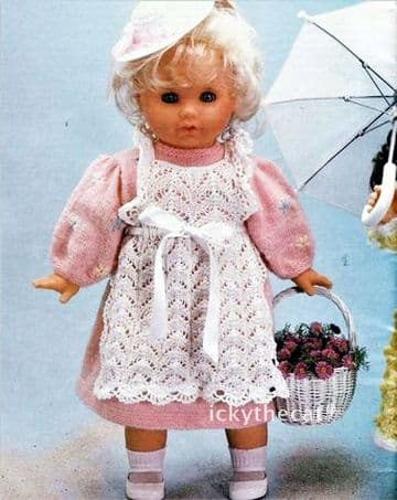 PDF Digital Download Vintage Knitting Pattern Doll Clothes Doll's Dress/Pinafore