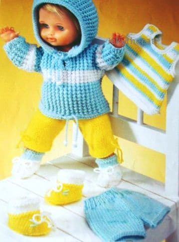 PDF Digital Download Vintage Knitting Pattern Doll Clothes for 12-22'' Doll Toy Toys