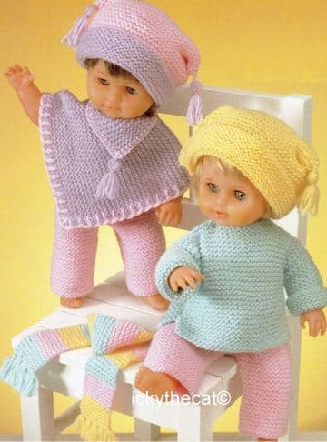 PDF Digital Download Vintage Knitting Pattern Doll Clothes Poncho Trousers Sweater Hats 12-22''