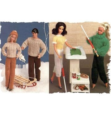 PDF Digital Download Vintage Knitting Pattern Doll Clothes Teenage Fashion Dolls Barbie Ken Toys Toy