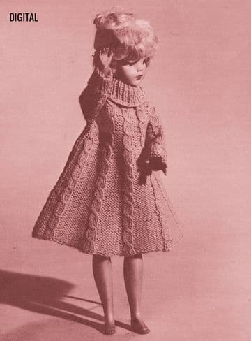 PDF Digital Download Vintage Knitting Pattern Doll Clothes Teenage Fashion Dolls Cable Dress Barbie