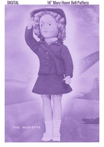 PDF Digital Download Vintage Knitting Pattern Doll Clothes The Wavette Outfit 14'' Dolls Soft Toys
