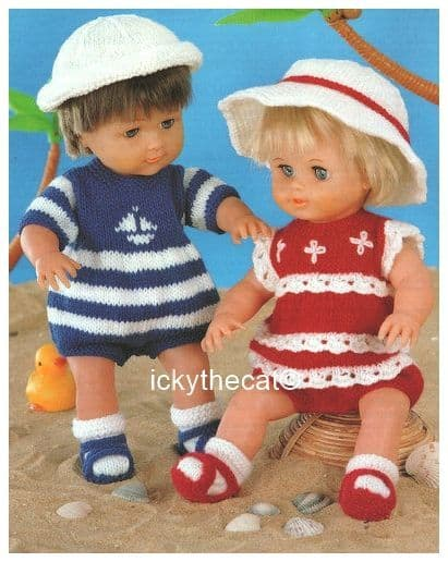 PDF Digital Download Vintage Knitting Pattern Doll /Premature Baby Clothes 12-22'' Romper Sun Hat