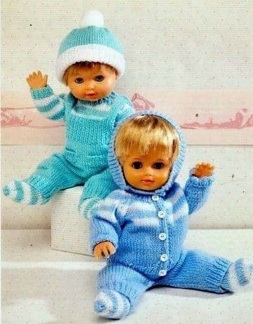 PDF Digital Download Vintage Knitting Pattern Doll / Premature Baby Clothes Pram Sets 12-22'' DK