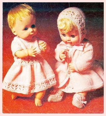 PDF Digital Download Vintage Knitting Pattern  Doll's Clothes  14-20'' Baby Doll Toy Toys