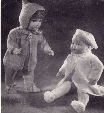 PDF Digital Download Vintage Knitting Pattern Doll's Clothes Doll Coat,Beret,Jumper,Jacket Toy Toys