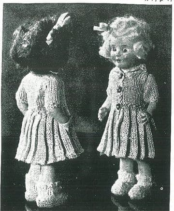 PDF Digital Download Vintage Knitting Pattern Doll Toy Clothes 6 1/2'' Baby Doll Rosebud Dolls Toys